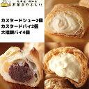 送料無料 冷凍 父の日 カスタード シュークリーム カスタードパイ 各2個 粒あんもちパイ 4個入り 北海道 生クリーム …