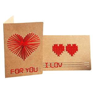 刺繍 手作り メッセージカード おしゃれ 寄せ書き グリーティングカード クラフト紙 誕生日 バレンタイン お祝い 手紙 封筒付き 文房具 ウェディング 結婚 父の日 母の日 ギフト 花束 誕生日