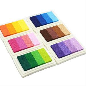 スタンプ台 グラデーションカラー 6色 単品売り インク カラー 布用 コットン 木 紙用 インク スタンプ台 スタンプパッド