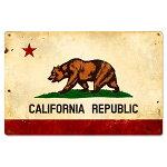 スティールサイン(スチールサイン)CaliforniaFlagVintageSignPTS-380