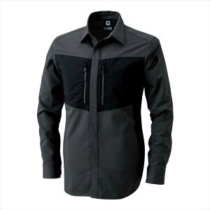 TS DESIGN (TSデザイン) ハイブリッドストレッチシャツ ブラックxチャコールグレー 84605 2002 作業服 ユニフォーム 藤和