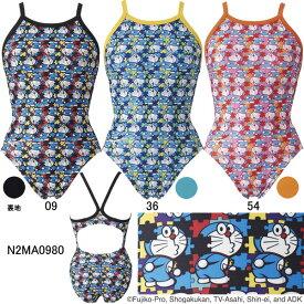 【15%OFF】ミズノ(MIZUNO)女児用トレーニング水着 ドラえもん エクサスーツジュニアミディアムカット N2MA0980