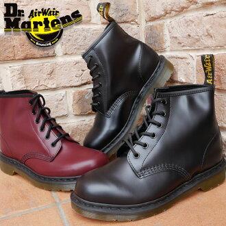 马滕斯博士鞋 101 Dr.Martens 6EYE 引导男装女装短长度 6 孔皮靴中性 10064001 (黑色) 10064600 (樱桃红)