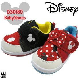 【あす楽】ディズニー Disney 男の子 女の子 子 キッズ チャイルド 子供靴 ベビーシューズ DS0180 ベビー靴 ファーストシューズ キッズシューズ ベルクロ マジック ミッキー ミニー 黒 赤 ドット リボン 通園 ダイマツ evid /- |3