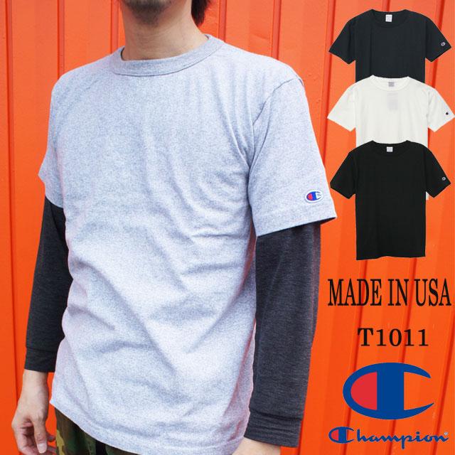 チャンピオン Champion メンズ C5-P301 T1011 ティーテンイレブン Tシャツ カジュアル 無地 半袖 丸首 MADE IN USA evid