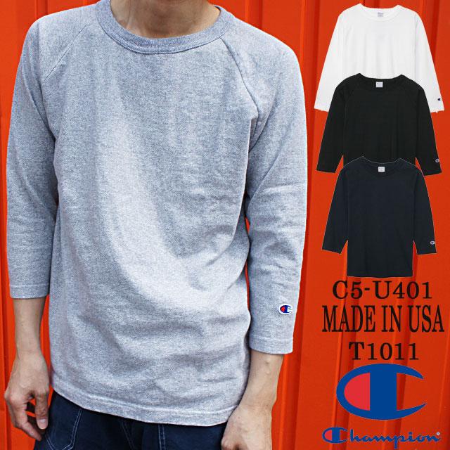 【送料無料】(一部地域除く) チャンピオン Champion メンズ Tシャツ アパレル C5-U401 T1011 ティーテンイレブン Tシャツ ラグラン コットン100% 3/4スリーブ 7分袖 カジュアル 無地 半袖 丸首 MADE IN USA evid