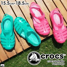 【あす楽】クロックス crocs イザベラ サンダル PS 204035 女の子 6NP ピンク 3N9 グリーン evid /-