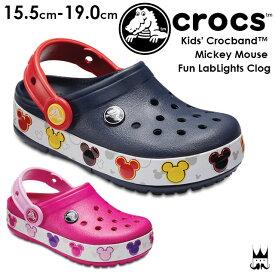 【あす楽】クロックス crocs クロックバンド ミッキー ファン ラブ ライツ キッズ 光る靴 サンダル 204994 男の子 女の子 410 Navy 6X0 Candy Pink ディズニー Disney evid o-sg /-