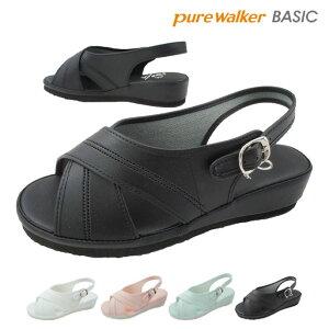 ピュアウォーカー ベーシック pure walker BASIC レディース ナースシューズ 静音 PW7602 オフィスサンダル バックバンド サンダル 黒 ブラック 白 ホワイト ブルー ピンク evid |2
