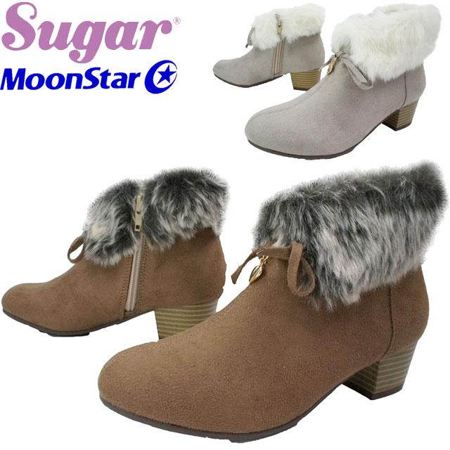 ムーンスター MoonStar 女の子 子供靴 キッズ ジュニア ブーツ SG J472 シュガー ショートブーツ ブラック ブラウン トープ evid