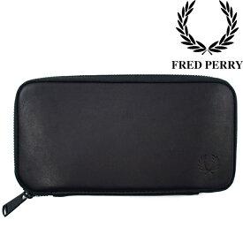 フレッドペリー FRED PERRY メンズ レディース 長財布 F19828 本革 ラウンドファスナー 黒 ZIP AROUND LEATHER PURSE evid /-