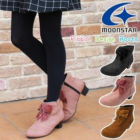 【あす楽】ムーンスター MoonStar 女の子 子供靴 キッズ ジュニア ブーツ SG J502 ショートブーツ リボン ブラック ピンク ブラウン evid o-sg /-