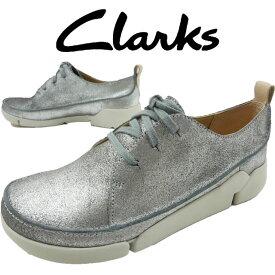 【あす楽】クラークス Clarks 大きいサイズ ビッグサイズ ローカットスニーカー 本革 レザー レディース 【送料無料】302G レースアップシューズ オックスフォードシューズ シルバー メタリック evid