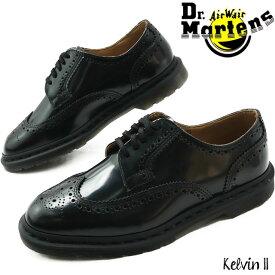 【あす楽】ドクターマーチン 5ホールシューズ レディース メンズ 革靴 【送料無料】(一部地域除く) Kelvin II ブローグシューズ オックスフォード マニッシュ レースアップ ブラック 黒 メダリオン ウィングチップ フォーマル パーティ ビジネスシューズ 25026001 evid