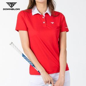 [DOWNBLOW] ゴルフウェア レディース 半袖シャツ LADYS おしゃれ ゴルフ テニス スポーツウエア トップス ポロシャツ かわいい モックネックシャツ 春 夏 秋 ブラック ホワイト スパン 即吸速乾