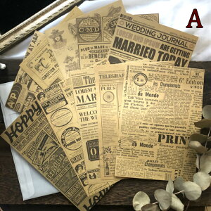 海外製 ヴィンテージクラフトペーパーセット (k4) 10柄10枚入り 英字 英字新聞 外国 フライヤー 英語 アルファベット 海外紙もの おしゃれ 紙