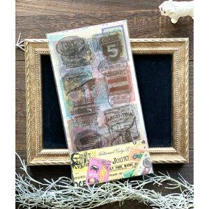 海外製PETステッカー (s61) 10枚セット 大きめ たくさん 世界各国 スタンプ 切手 透明 クリア ハンコ 猫 ネコ 犬 イヌ 蝶 ちょうちょ 車 植物 お花 花 シール