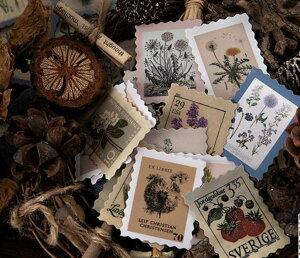 海外フレークシール 46枚入 切手 レトロ (s28) ヴィンテージ お花 きのこ 木の実 植物 動物 コラージュ デコ おしゃれ ジャンクジャーナル 手紙 郵便 シール