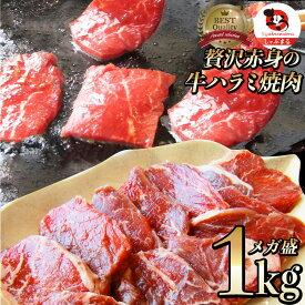 牛 ハラミ 焼肉(サガリ)1kg(250g×4P)牛肉 メガ盛り (*当日発送対象) 赤身 贅沢 おトク お徳用 送料無料 アメリカ産 あす楽 肉 通販 お取り寄せ グルメ アウトドア お家焼肉 レジャー 送料無料 バーベキュー 肉 食材 セット バーベキューセット BBQ BBQセット
