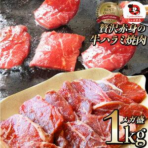 牛 ハラミ 焼肉(サガリ)1kg(250g×4P)牛肉 メガ盛り (*当日発送対象) 赤身 贅沢 おトク お徳用 送料無料 アメリカ産 あす楽 肉 通販 お取り寄せ グルメ アウトドア お家焼肉 レジャー 送料