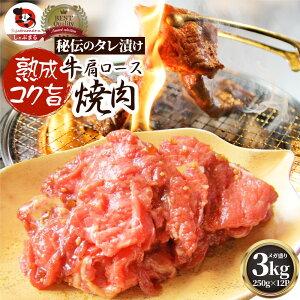 牛肉 肉 焼肉 牛肩ロース焼肉3kg(250g×12)赤身 贅沢 おトク お徳用 送料無料 あす楽 肉 通販 お取り寄せ グルメ アウトドア お家焼肉 レジャー 送料無料 バーベキュー 食材 セット バーベキュ