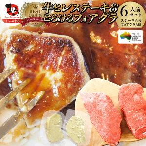 牛肉 ヒレステーキ & フォアグラセット 6人前(ステーキ150g×6枚&フォアグラ6個)牛 ヒレステーキ 最高級 ハンガリー産 フォアグラ・ド・カナール 冷凍 通販 高級レストラン お得用 お試し