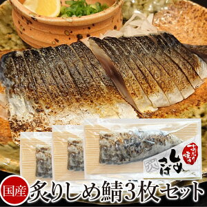 【国産】炙り しめさば 3枚セット (切れてるしめ鯖)【 魚 〆鯖 〆サバ 惣菜 冷凍】