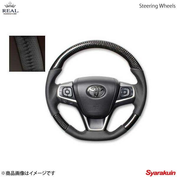 REAL レアル ステアリング TOYOTA/トヨタ カムリ 50系 後期 オリジナルシリーズ ガングリップ ブラックカーボン ブラックステッチ