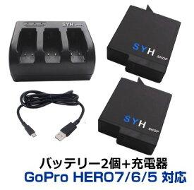 GoPro バッテリーセット Gopro HERO7 HERO6 HERO5 HERO2018 対応 SYH SHOPオリジナル互換バッテリー2個(保護ケース入り)+USBトリプル充電器 ゴープロバッテリー3個同時急速充電が可能 S-9