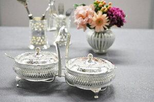 シルバー ダブルジャムディッシュ イギリス製 QUEEN ANNE (クイーンアン) テーブル キッチン雑貨