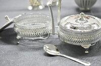 シルバーダブルジャムディッシュイギリス製QUEENANNEテーブルキッチン雑貨