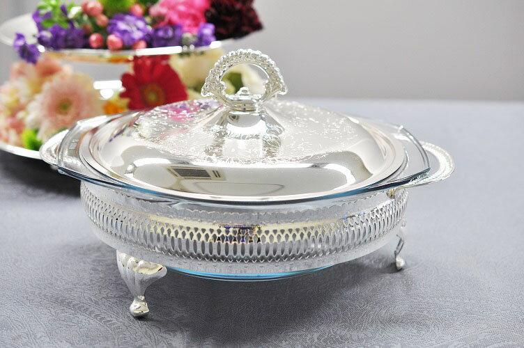 シルバー ラウンドキャセロールディッシュ パーティディッシュ 猫足 皿 イギリス製 QUEEN ANNE(クイーンアン) テーブル キッチン雑貨