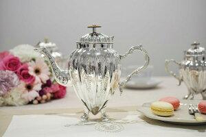 ティーポット シルバー 脚付き おしゃれ 600ml 2〜3人用 イタリア製 ロイヤルファミリー テーブル キッチン雑貨 紅茶