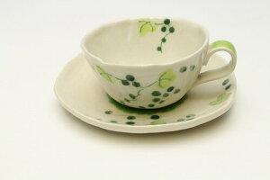 山ぶどう コーヒー碗皿・緑