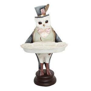 トレイを持ったフクロウのオブジェ 置き物 飾り物 置物 名刺トレイ 小物置き 小銭置き トレー 小物入れ キャッシュトレイ レジ 店舗 鍵置き 鍵入れ アンティーク モダン おしゃれ レトロ ヨ
