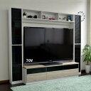 送料無料 70インチ対応 TV台 テレビ台 ゲート型 大型テレビ対応 ハイタイプ ホワイト&オーク 壁面収納 大容量 収納 …