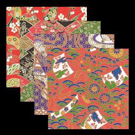 友禅千代紙 4寸 100枚入 各25枚x4柄 キッチン 和柄 日本製 かわいい おしゃれ