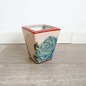 送料無料 バラ模様がかわいい ミニプランター 花瓶 ブルーローズ 磁器 鉢カバー プランターボックス アンティーク レトロ おしゃれ 小物入れ 玄関 リビング 鍵入れ