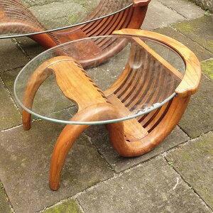 ミニチークガラステーブル(塗装品) 単品 ガーデンテーブル 机 テラス カフェ アウトドア おしゃれ モダン