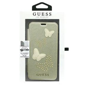GUESS iPhoneX専用 蝶ワッペン付手帳型ケース STUDS AND SPARKLES - PU LEATHER BOOKTYPE CASE WITH BUTTERFLIES - BEIGE iPhone X GUFLBKPXPBUBE エアージェイ かっこいい air-J シンプル おしゃれ iPhoneカバー アイフォンケー