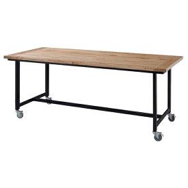 ダイニングテーブル 単品 キャスター付き ダイニング テーブル 天然木 木製 おしゃれ 机 つくえ 作業台 食卓テーブル 6人用 6人掛け テーブル 幅180cm アンティーク モダン 北欧