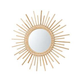 鏡 壁掛け 壁掛 コンパクト ラタン ウォールミラー ミラー かがみ カガミ レトロ アンティーク レトロ モダンヨーロピアン おしゃれ