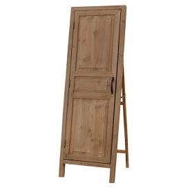 ドア型 スタンドミラー 木製 収納付き 姿見 全身 アンティーク ミラー 鏡 全身鏡 かがみ カガミ モダン 美容院 店舗 カフェ サロン レトロ モダン ブルックリン 西海岸 おしゃれ ライトブラウン