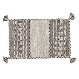 ラグマット 玄関マット 75×45cm 室内 屋内 おしゃれ 可愛い 北欧 コットン 綿 グレー オールシーズン エントランス マット かわいい 可愛い シェニール織