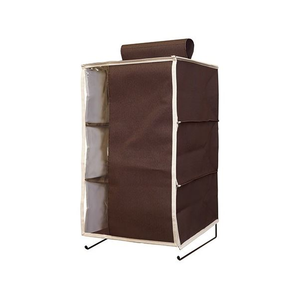 【3個セット】 ハンギングラック/衣類収納 【3段 ブラウン】 幅28cm 透明窓付きカバー・ポケット付き 『プラスワン』