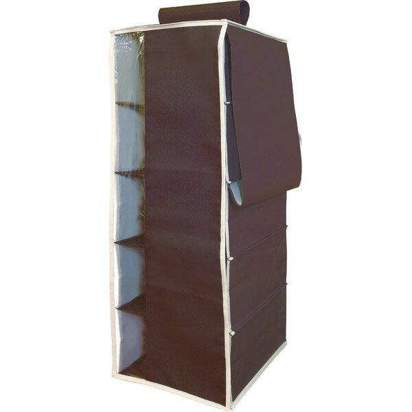 【3個セット】 ハンギングラック/衣類収納 【5段 ブラウン】 幅28cm 透明窓付きカバー・ポケット付き 『プラスワン』