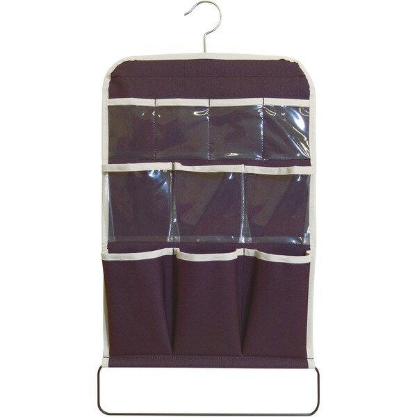 【5個セット】 マルチウォールポケット/壁掛け収納 【ブラウン】 幅35cm×高さ56.5cm ハンガー付き 『プラスワン』