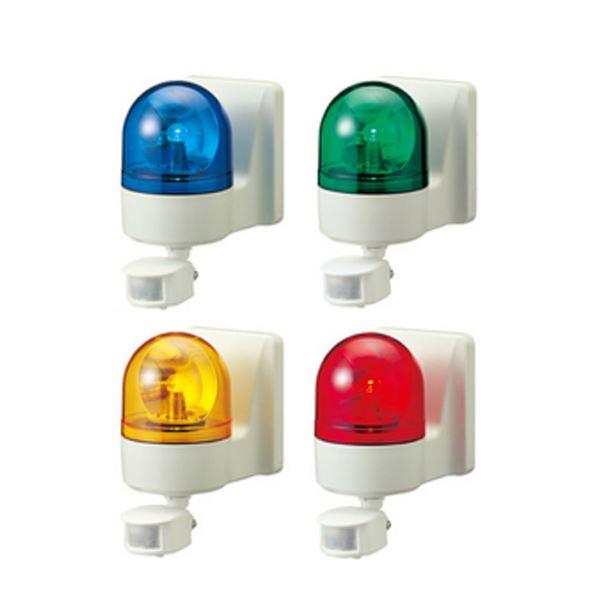 パトライト(回転灯) パトセンサ 壁面取付けセンサ付き回転灯 WHS-100A AC100V Ф100 防滴 ブザーなし 黄【代引不可】