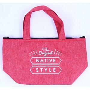 送料無料 6個入り NATIVE ランチバッグ 横型 お弁当袋 バッグ ピクニック シンプル 北欧 おしゃれ かわいい レッド