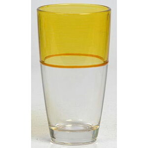 送料無料 6個入り コップ ガラス グラス ツートン M イエロー ガラスコップ おしゃれ ギフト 結婚祝い 内祝い お祝い 贈り物 プレゼント 誕生日